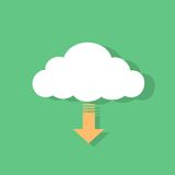 Cloud download icon flat design vector. Illustration Royalty Free Stock Photo