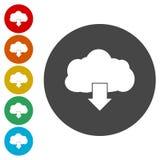Cloud download icon flat design vector illustration. Vector icon stock illustration