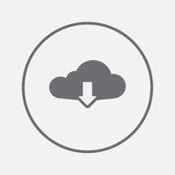 Cloud download icon vector, solid illustration, pictogram isolated on gray. Royalty Free Stock Photos