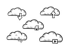Cloud download media doodle icon vector stock illustration