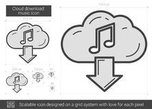 Cloud download music line icon. Stock Images