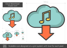 Cloud download music line icon. Royalty Free Stock Photo