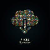 Cloud download - pixel illustration. Royalty Free Stock Image