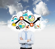 A cloud with a drawn flowchart instead of the manager's head. Stock Images