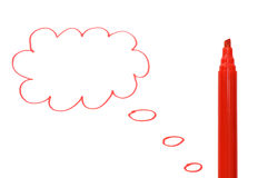 Cloud drawn by a red marker Royalty Free Stock Photos
