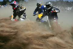 Cloud of dust. Moto cross action from massey ontario Stock Photography