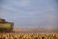 Cloud of dust and chaff behind a harvester. Cloud of dust and chaff behind a combine harvester harvesting a field of maize viewed low angle over stubble Stock Photography