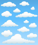 Cloud Element Set. Set of cloud elements on a blue sky background.  Colors are just a few global swatches, so file can be recolored easily.  Cloud highlights and Royalty Free Stock Photos