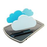 Cloud emblems over pad mobile phone concept Royalty Free Stock Photos