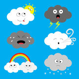 Cloud emoji icon set. Sun, rainbow, rain drop, wind, thunderbolt, storm lightning. White gray color. Fluffy clouds. Cute cartoon c Stock Images