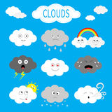 Cloud emoji icon set. White gray color. Fluffy clouds. Sun, rainbow, rain drop, wind, thunderbolt, storm lightning. Cute cartoon c Royalty Free Stock Photos