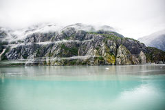 Cloud encircled mountain. Entering Glacier Bay on a rainy day Stock Images