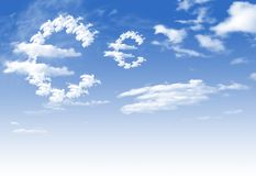Cloud Euro currency symbol shape. Over blue sky royalty free stock photography