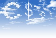 Cloud Euro and $ currency symbol shape over sky Royalty Free Stock Photo