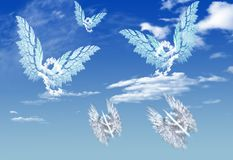 Cloud Euro and dollar currency symbol shape. Fly over blue sky stock images