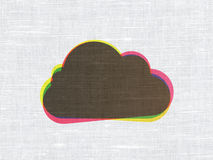 Cloud on fabric texture background. Cloud networking concept: CMYK Cloud on linen fabric texture background, 3d render Stock Images