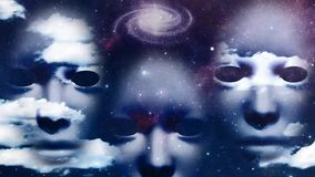 Cloud Faces. Faces float among clouds. Galaxy in the sky stock footage