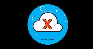 Cloud Fail flat icon animated with alpha channel