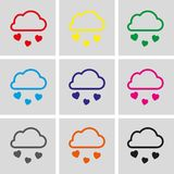 From the cloud falling hearts icon stock vector illustration flat design Stock Photography