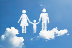 Cloud family. Symbol floating in sky Royalty Free Stock Photo