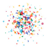 Cloud a festively colored confetti. Explosion cloud a festively colored confetti. Carnival background, blast coloured shapes.Vector illustration template web Stock Image