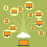Cloud File Sharing. Vector illustration of several computing devices connected and share each other on a cloud network Stock Photography