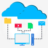Cloud File Sharing. Flat design concept of Cloud File Sharing Stock Photo