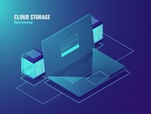 Cloud file storage, server room, data center access, laptop screen with user sign in form, database neon isometric. Vector Stock Images
