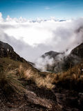 Cloud Filled Valley Inca Trail Stock Photo