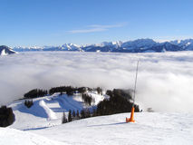 A cloud filling up the mountain valley Royalty Free Stock Photography