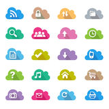 Cloud flat color icon set Royalty Free Stock Images