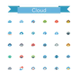 Cloud Flat Icons. Cloud and Server flat icons set. Vector illustration Stock Image