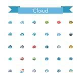 Cloud Flat Icons Stock Image