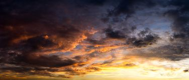 Panorama morning sky and cloud scape. Cloud floating in morning sky panorama picture Stock Photography
