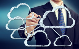 Cloud flow chart with businessman Royalty Free Stock Image