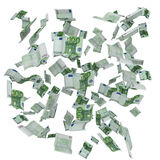 Cloud of flying Euro notes. Many Euro 100 banknotes forming a background royalty free illustration