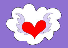 Cloud and flying heart Stock Photos