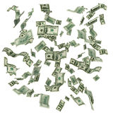 Cloud of flying hundred dollar bills. Hundred dollar banknotes forming a flying cloud background Royalty Free Stock Photography