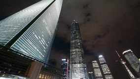 Cloud flying shanghai huanqiu skyscraper & pearl-tower at night. stock video