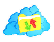 Cloud with folder and arrows Stock Photos