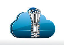 Cloud folder. Blue cloud folder with zip on white background Stock Images