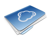 Cloud folder. File storage concept. 3D Icon. Blue cloud folder. File storage concept. 3D Icon Royalty Free Stock Photos