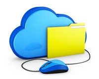 Cloud and folder with mouse. Blue cloud and yellow folder with computer mouse. 3d rendering Royalty Free Stock Photography