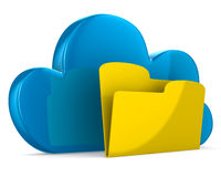 Cloud and folder on white background Stock Images
