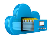 Cloud and folder on white background Royalty Free Stock Photos
