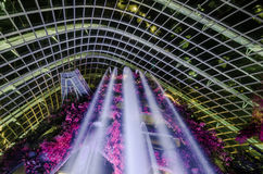 Cloud Forest Dome at Garden by the bay. Singapore – 25 March 2016: Tropical mountain along with plants and water fall in Cloud Forest Dome at Garden by the Royalty Free Stock Images