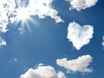The cloud in the form of heart. Cloud-shaped heart on a sky. Valentine's Day royalty free stock image