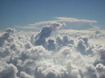 Cloud Formation Above Nevada Desert 3. Cloud formation above the Nevada desert near Las Vegas, as seen from a plane flying just above the clouds. The mushroom stock photo
