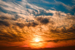 Cloud formation. Cloud sunset over cornwall uk Royalty Free Stock Photography
