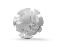 Cloud of fragments on white. Abstract 3d spherical object, cloud of fragments on white royalty free illustration